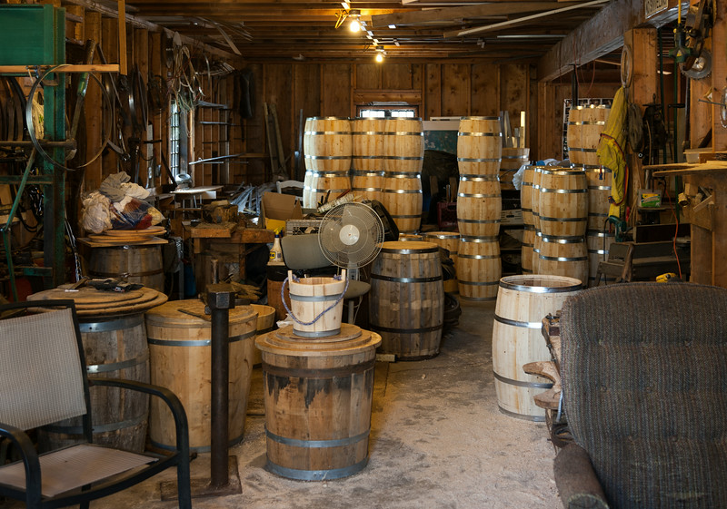 Cooper's or barrel-making shop