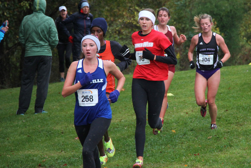 Claire Cates runs in the Big South Cross Country Championship