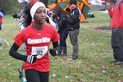 Gabrielle Cortese runs in the Big South Cross Country Championship