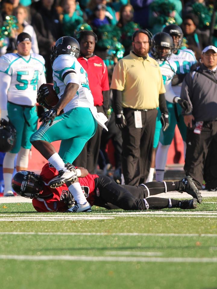 Gardner-Webb University Runnin' Bulldogs battle with Coastal Carolina University for a tough loss on Saturday, November 1st, 2014.