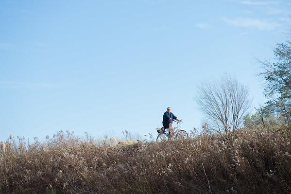 JOED VIERA/STAFF PHOTOGRAPHER-Lockport, NY-Charlie Glenn rides his bike along the Canal. Tuesday, November, 11 2014.