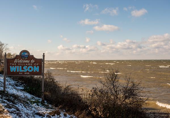 JOED VIERA/STAFF PHOTOGRAPHER-Wilson, NY-Winds make waves on Lake Ontario. Tuesday, November, 18 2014.