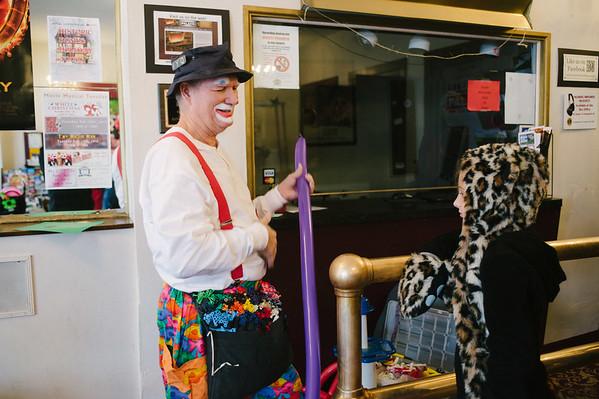 JOED VIERA/STAFF PHOTOGRAPHER-Lockport, NY-Cleo the Clown makes a heart flower balloon for Jessica Zysek at the Palace Theater. Saturday, November, 29, 2014.