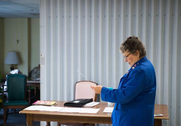 JOED VIERA/STAFF PHOTOGRAPHER-Lockport, NY-Jill Mallon looks over her ballot at Briarwood Manor. Tuesday, November, 4 2014.