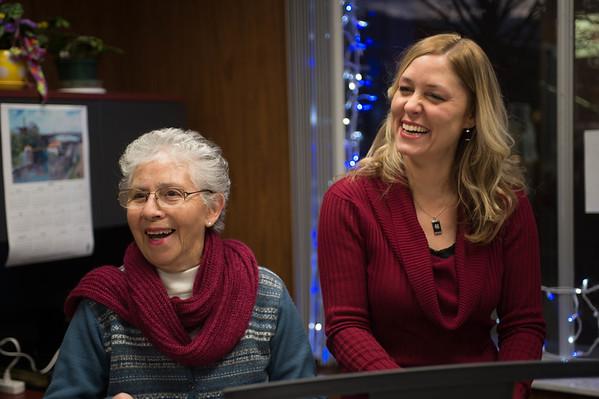JOED VIERA/STAFF PHOTOGRAPHER-Lockport, NY-Angela Lytle and Pamela Szalay play piano at the Mental Health Association. Friday, November, 21 2014.