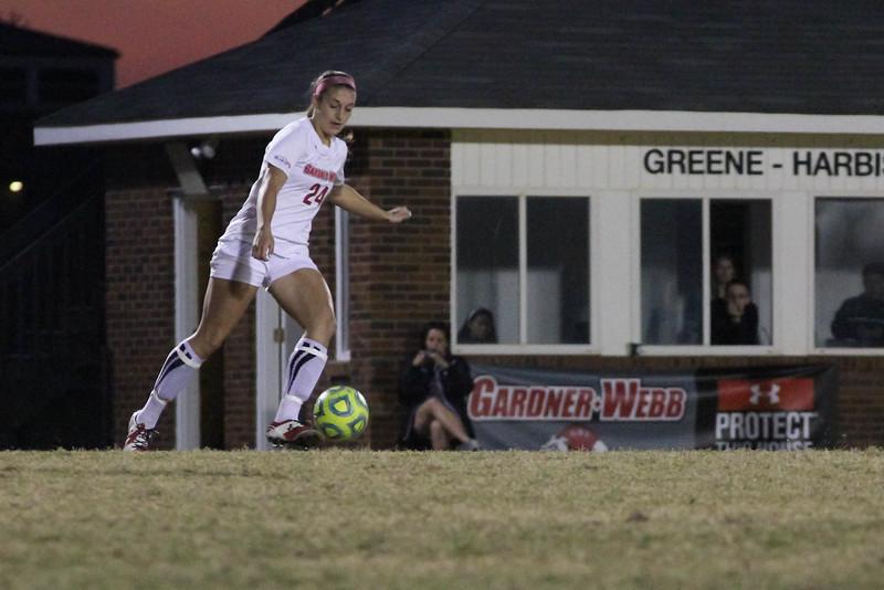 Number 24, Brandi Arey kicks the ball.