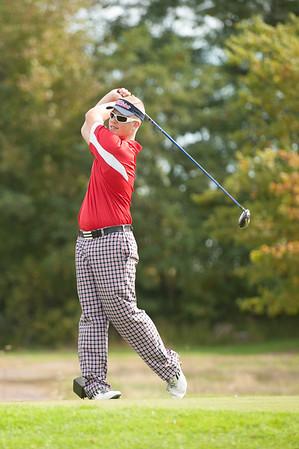 JOED VIERA/STAFF PHOTOGRAPHER-Lockport, NY-Logan St. Cyr a Junior at North Tonawanda High School golfs at the Niagara Frontier League Golf Tournament at the Willowbrook Golf Course. Tuesday, October, 14 2014.
