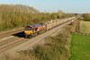 28 October 2014 :: 66142 is passing Denchworth with 6C54 empty stone boxes from Banbury Road Oxford to Westbury