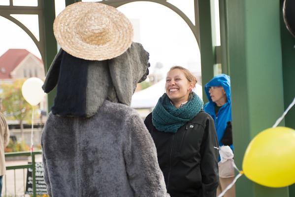 JOED VIERA/STAFF PHOTOGRAPHER-Lockport, NY-Katie Blendowski interacts with Sal the Mule (Roy Walker) at Locktoberfest. Saturday, October, 4, 2014.