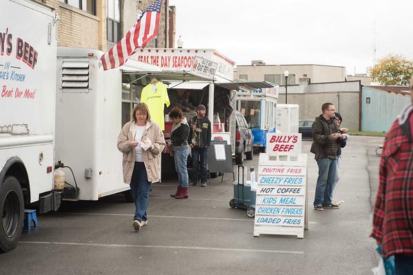 JOED VIERA/STAFF PHOTOGRAPHER-Lockport, NY-Attendees sample the food selection at Locktoberfest. Saturday, October, 4, 2014.