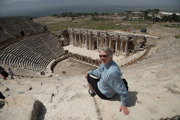 Joanne at the Amphitheather at Hieropolis