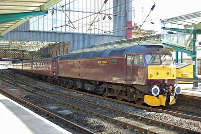 In keeping with true 'Compass' tradition, 1Z61 hadn't taken the direct 90-mile route from Preston via Shap. Instead 47854's journey to the 'Border City' had taken it via Crewe, Uttoxeter, Beeston, Chesterfield, Skipton and Appleby (07/03/2014)