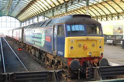 47810 'Peter Bath MBE' is pictured on arrival at Hull with 1Z70 0706 football charter from Kings Cross conveying Chelsea fans to their Premier League match in the city (11/01/2014)