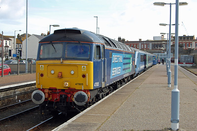 A punctual arrival into Lowestoft provided the opportunity for a further shot of 47805 waiting to head back to Norwich with 2J73 (17/03/2014)