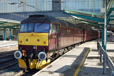 47854 'Diamond Jubilee' is pictured on arrival at Carlisle after working Compass Tours' 1Z61 0522 charter from Preston (07/03/2014)