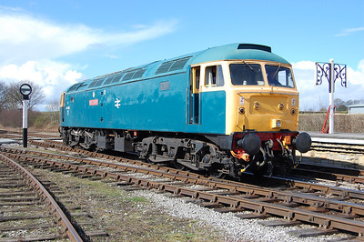 The following morning pioneer 47401 North Eastern backs gently onto its train at Swanwick Junction during a mixed steam and diesel running day at the Midland Railway, Butterley (23/03/2014)