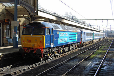 The ex-works 47818 is pictured again on arrival back at Norwich with 2J73. The loco had only been released from Eastleigh the previous week after receiving modifications and a repaint (24/02/2014)