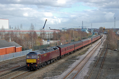 47746 passes Stourton, Leeds, at the head of 5Z52 0945 Hitchin - Carnforth ECS move. The previous day the loco had worked the St Neots to Crewe leg of a West Coast Railways charter to Shrewsbury (16/02/2014)