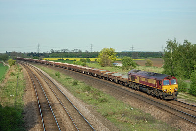Completing a trio of different hauliers, DB Schenker 66161 passes through Burton Salmon on its way to a worksite with 6T54 1550 Belmont Yard to Pontefract Baghill (03/05/2014)