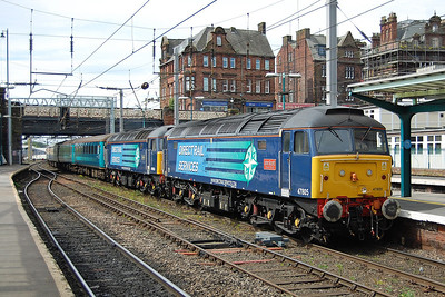 Having been up to Kingmoor for servicing, 47805+47853 arrive back into Carlisle with the empty stock for the 1Z72 1500 return charter to Swindon via the S&C (17/05/2014)