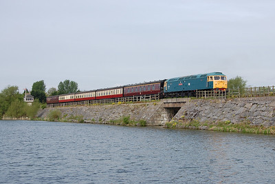 47401 'North Eastern' crosses Butterley Reservoir with the empty stock for 2P21 1100 to Riddings during a running day at the Midland Railway Centre. Although I'd tried a similar shot to this last month, on this occasion the sun was shining (04/05/2014)