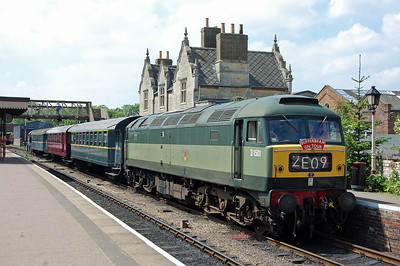 Having made the short run through the tunnel with '1E50', 47402 awaits the arrival of a westbound train at Wansford. The '14' with which it had 'top-and-tailed' the train to Yarwell and back was detached here  (18/05/2014)