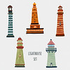 43949316 - set of cartoon lighthouses. retro icons in flat style.