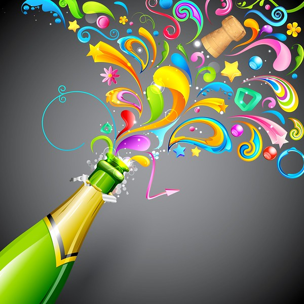 15056297 - illustration of colorful swirls coming out of champagne bottle