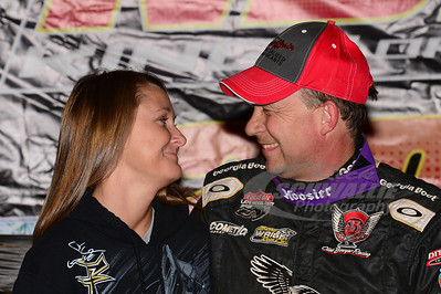 Steve Francis with wife Amanda in Victory Lane
