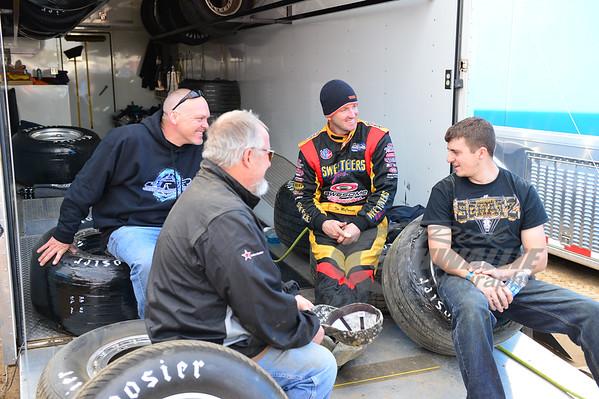 Tim McCreadie talks with Rocket house car crew members