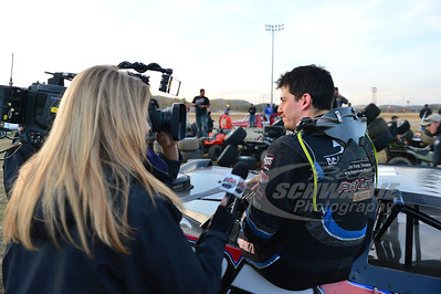 John Blankenship being interviewed for TV by Lucas Oil Production Studios