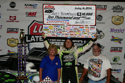 Scott Bloomquist in Victory Lane with Portsmouth Raceway Park promoter - Donna Rayburn and track owner - Tim Coleman