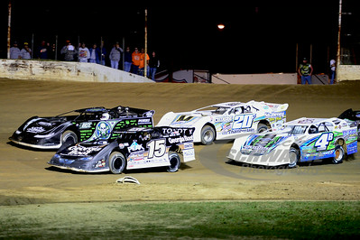 15 Steve Francis, 0 Scott Bloomquist, 4b Jackie Boggs, 20c Duane Chamberlain at the start of the green flag for the 50 lap feature @ Portsmouth Raceway Park.