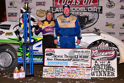 Jackie Boggs with car builder - Audie Swartz in Victory Lane