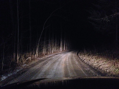 A dark dirt road in rural Maryland