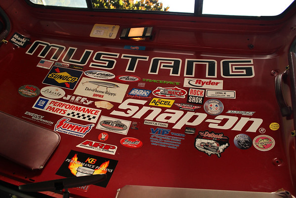 Dan's sticker collection in the '89 Chevy.