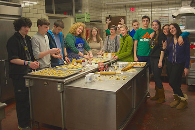 Teens making hamantaschen at Monday School 3/10/14