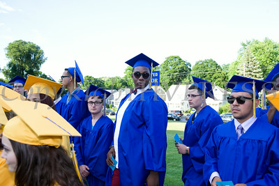 Seniors prepare for the Academic Processional of Graduates prior to Newburgh Free Academy's 149th Commencement Exercises for the graduating Class of 2014 on Academy Field in the City of Newburgh, NY on Thursday, June 26, 2014. Hudson Valley Press/CHUCK STEWART, JR.