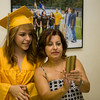 Newburgh Free Academy senior Dulce Chirinos takes a selfie with teacher Maria Lastowksi prior to NFA's 149th Commencement Exercises for the graduating Class of 2014 on Academy Field in the City of Newburgh, NY on Thursday, June 26, 2014. Hudson Valley Press/CHUCK STEWART, JR.