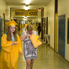 Newburgh Free Academy senior Kayla Bienwald heads to her assigned classroom prior to NFA's 149th Commencement Exercises for the graduating Class of 2014 on Academy Field in the City of Newburgh, NY on Thursday, June 26, 2014. Hudson Valley Press/CHUCK STEWART, JR.