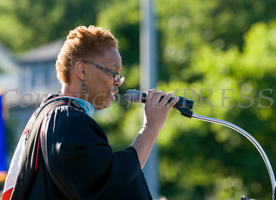 Poughkeepsie High School Principal Phee Simpson offers remakrs at the school's 142nd Commencement Exercises for the graduating Class of 2014 on Friday, June 27, 2014 in Poughkeepsie, NY. Hudson Valley Press/CHUCK STEWART, JR.