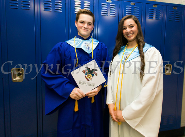 Poughkeepsie High School Salutatorian Matthew Anderson and Valedictorian Nora Abdelrahman prior to the 142nd Commencement Exercises for the graduating Class of 2014 on Friday, June 27, 2014 in Poughkeepsie, NY. Hudson Valley Press/CHUCK STEWART, JR.