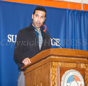 SUNY Orange Coordinator of Student Activities Juan Carlos Pineiro introduces the Keynote speaker at the 28th Annual Sojourner Truth Awards, held at SUNY Orange in Middletown, NY on Friday, March 14, 2014. Hudson Valley Press/CHUCK STEWART, JR.