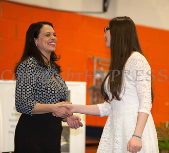 The Honorable Maria Vazquez-Doles shakes hands with Newburgh Free Academy student Bana Hadid at the 28th Annual Sojourner Truth Awards, held at SUNY Orange in Middletown, NY on Friday, March 14, 2014. Hudson Valley Press/CHUCK STEWART, JR.