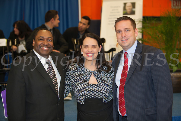 SUNY Orange Vice President of Student Services Paul Broadie, II, Honorable Maria Vazquez-Doles and Orange County Executive Steven Neuhaus at the 28th Annual Sojourner Truth Awards, held at SUNY Orange in Middletown, NY on Friday, March 14, 2014. Hudson Valley Press/CHUCK STEWART, JR.