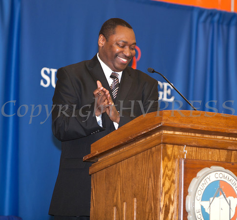 SUNY Orange Vice President of Student Services Paul Broadie, II, applaudes the 480 students being honored at the 28th Annual Sojourner Truth Awards, held at SUNY Orange in Middletown, NY on Friday, March 14, 2014. Hudson Valley Press/CHUCK STEWART, JR.
