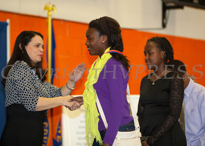 The Honorable Maria Vazquez-Doles shakes hands with student honorees at the 28th Annual Sojourner Truth Awards, held at SUNY Orange in Middletown, NY on Friday, March 14, 2014. Hudson Valley Press/CHUCK STEWART, JR.