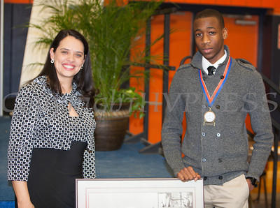 The Honorable Maria Vazquez-Doles with Cornwall Central High School Honoree Joshua Yeadon at the 28th Annual Sojourner Truth Awards, held at SUNY Orange in Middletown, NY on Friday, March 14, 2014. Hudson Valley Press/CHUCK STEWART, JR.