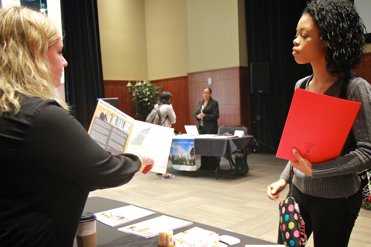 Gardner-Webb hosts a Graduate and Professional school fair in the Tucker Student Center for seniors and other interested students. Fall 2014