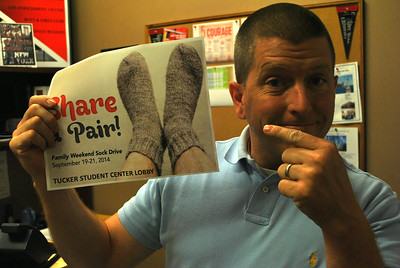 "Micah Martin is the new Director of Student Leadership Development and Community Engagement. He is very proud of their new campaign ""Share a Pair""."